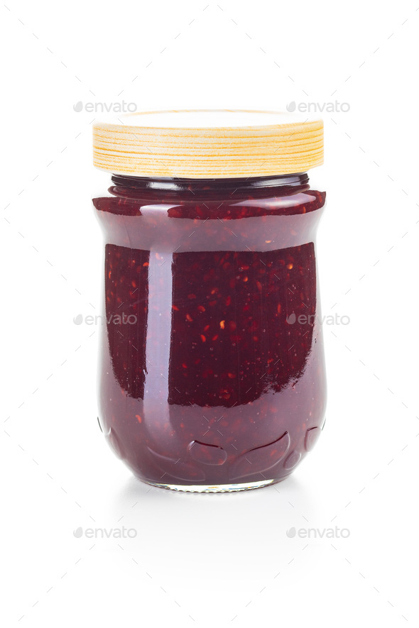 Raspberry jam in jar. - Stock Photo - Images