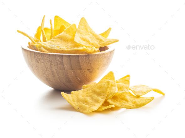 Corn nacho chips. Yellow tortilla chips. - Stock Photo - Images