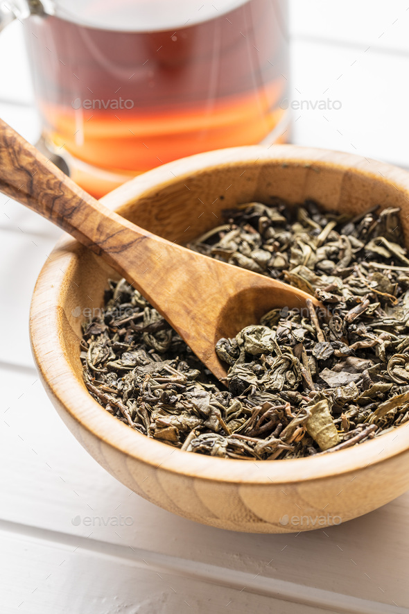 Dried green tea leaves. - Stock Photo - Images
