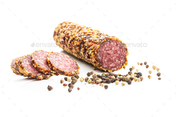 Spicy salami sausage. - Stock Photo - Images