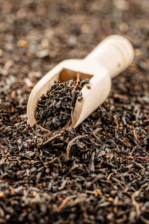 Dried black tea leaves. - Stock Photo - Images