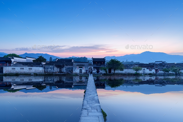 chinese ancient villages at dawn - Stock Photo - Images
