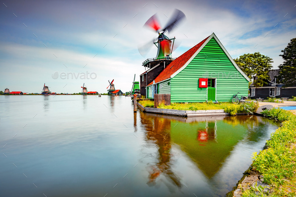 Windmills, Dutch countryside - Stock Photo - Images