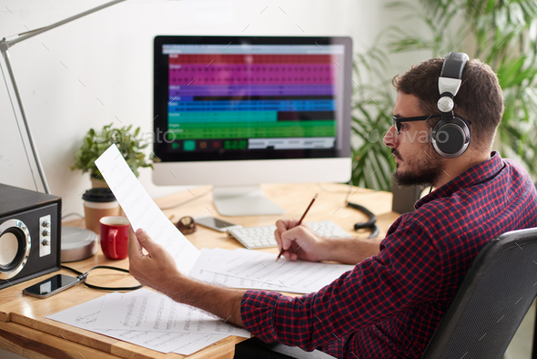Man recording a new song - Stock Photo - Images