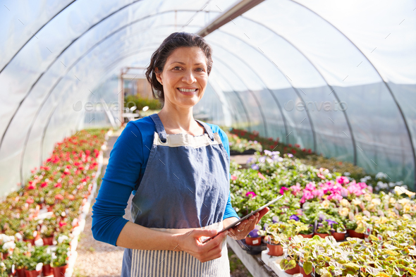 Portrait Of Mature Woman Working In Garden Center Greenhouse With Digital Tablet And Checking Plants - Stock Photo - Images