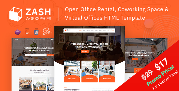 Zash - Office Rental & Coworking Space HTML Template by EnvyTheme
