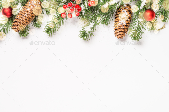 Christmas flat lay background with decorations on white - Stock Photo - Images
