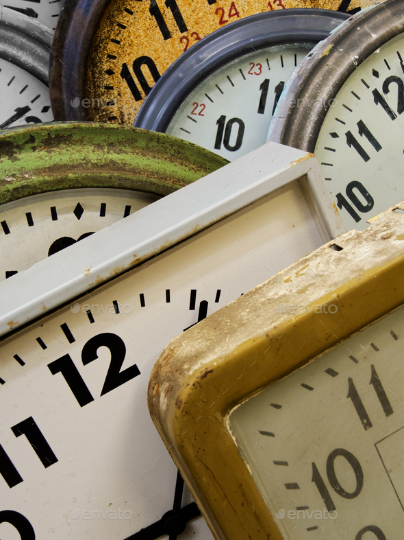 Group of old wall clocks - Stock Photo - Images