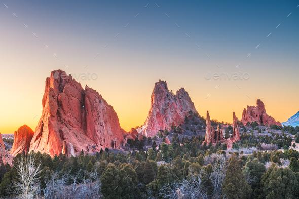 Garden of the Gods, Colorado Springs, Colorado - Stock Photo - Images