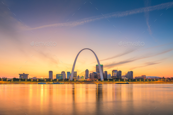 St. Louis, Missouri, USA downtown cityscape on the river - Stock Photo - Images