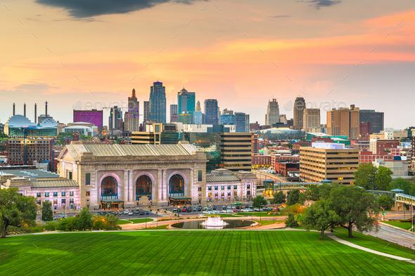 Kansas City, Missouri, USA downtown skyline - Stock Photo - Images