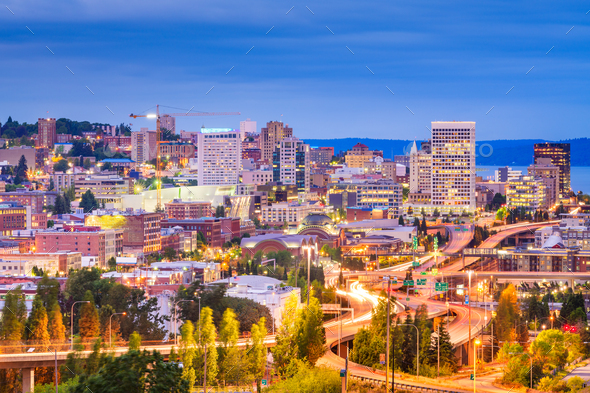 Tacoma, Washington, USA skyline at night - Stock Photo - Images