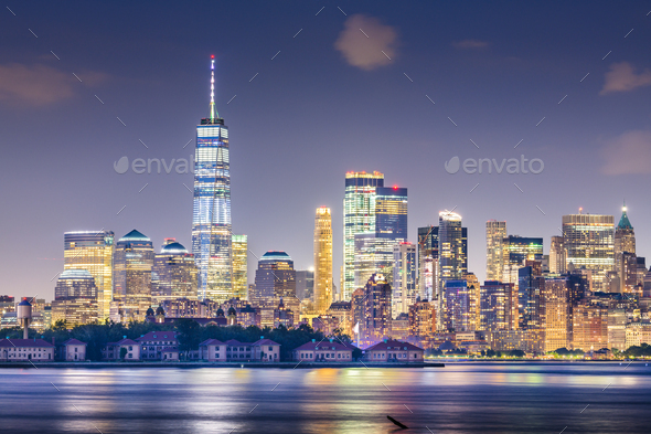 New York, New York, USA skyline from the harbor with Ellis Islan - Stock Photo - Images