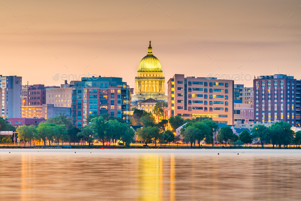 Madison, Wisconsin, USA downtown skyline - Stock Photo - Images