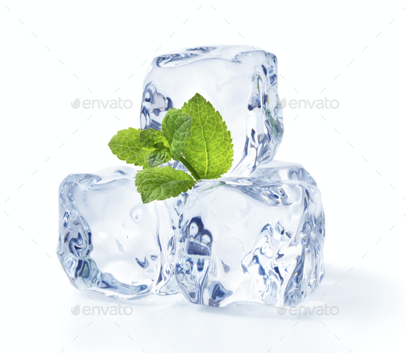 ice cubes with mint - Stock Photo - Images