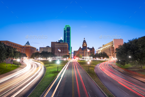 Dallas, Texas, USA skyline over Dealey Plaza - Stock Photo - Images