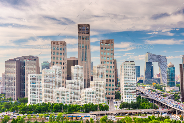 Beijing, China modern financial district skyline - Stock Photo - Images