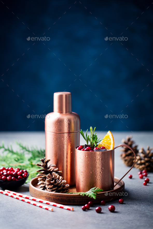 Moscow Mule Cocktail Set, Ingredients for Christmas and New Year Holiday Drink. Copy Space. - Stock Photo - Images