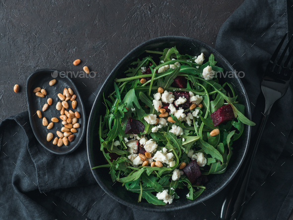 Aragula, beet and cheese salad - Stock Photo - Images