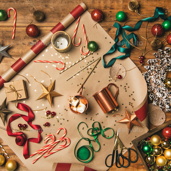 Christmas festive mood. Hot chocolate and Christmas decoration - Stock Photo - Images