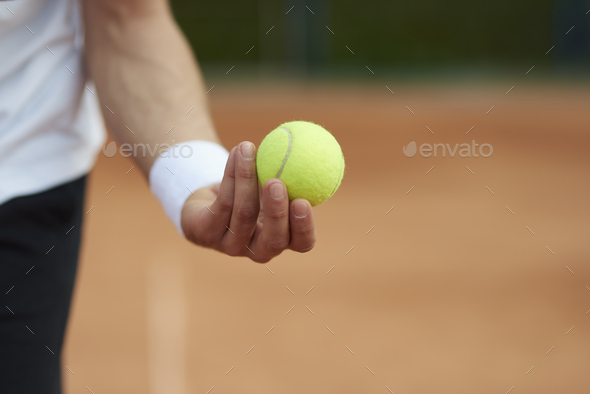 Player is holding a tennis ball - Stock Photo - Images