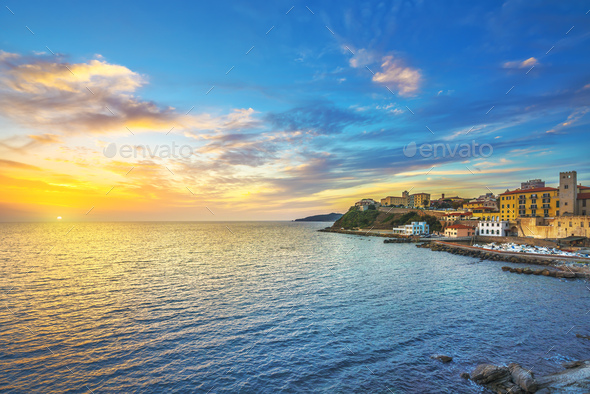 Piombino sunset view from piazza bovio.Tuscany Italy - Stock Photo - Images