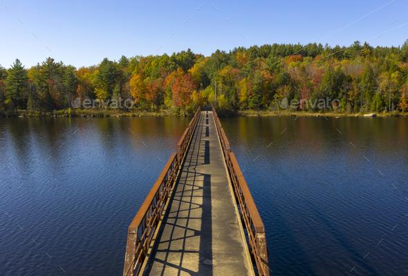 Pedestrian Bridge Lake Crossing Adirondack State Park New York - Stock Photo - Images