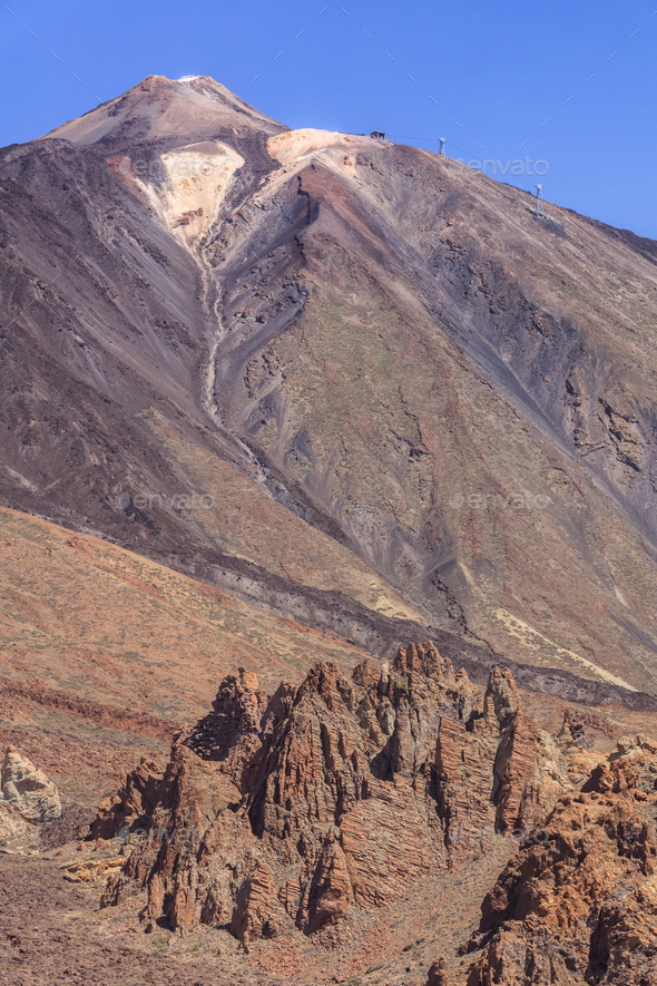 view of Mount Teide in Teide national park - Stock Photo - Images