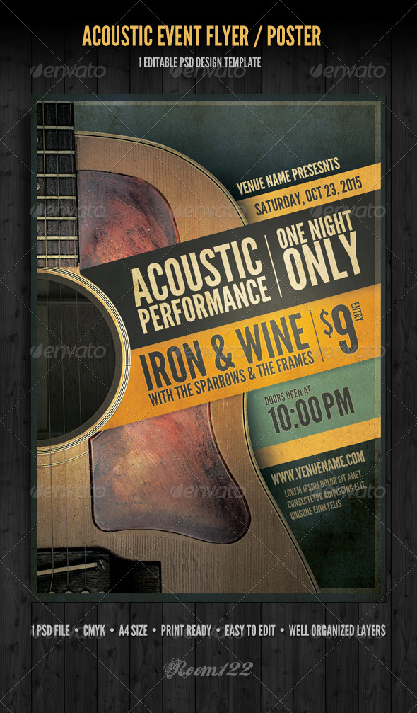 Acoustic Event Flyer/Poster Template by GraphicMonkee | GraphicRiver