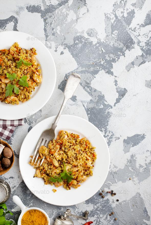 bulgur with seafood - Stock Photo - Images