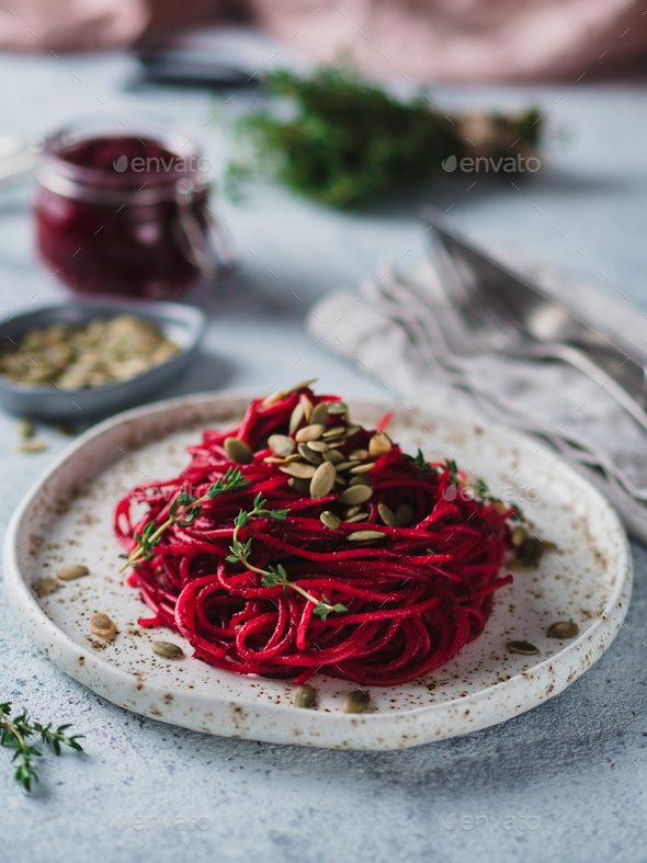 Beetroot pesto with copy space - Stock Photo - Images