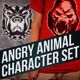 5 Angry Animal Character Set - GraphicRiver Item for Sale