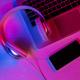 Top view of set of gadgets in purple neon light - PhotoDune Item for Sale