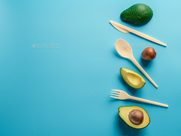 Avocado Seeds Biodegradable Single-Use Cutlery - Stock Photo - Images