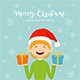 Free Download Elf with Christmas Presents on Blue Background Nulled