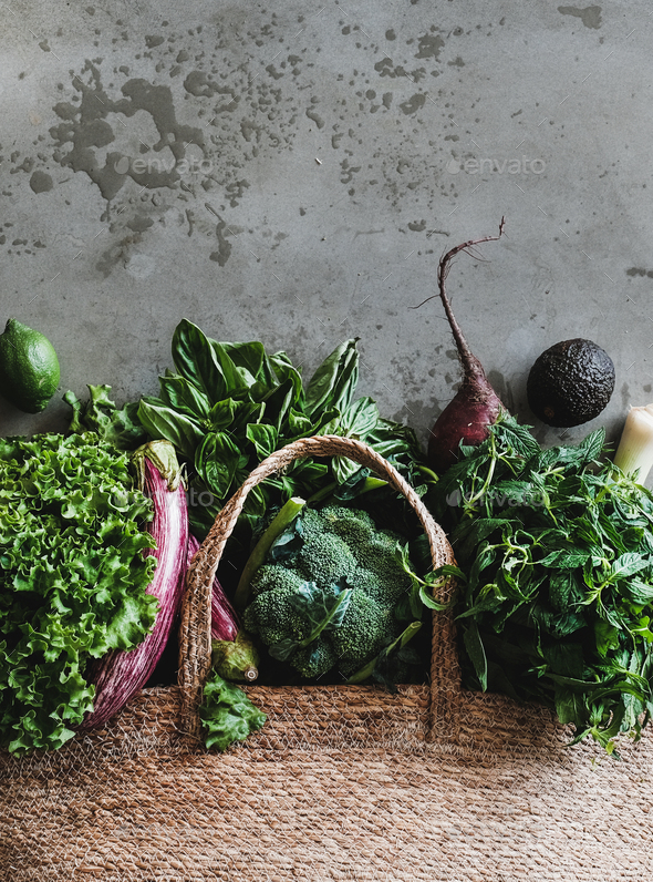 Shopping bag with healthy fresh organic vegetables, greens from market - Stock Photo - Images