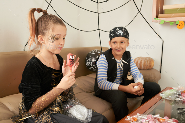 Children With Halloween Treats - Stock Photo - Images