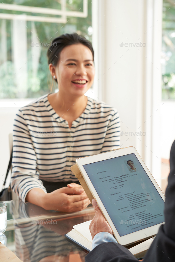 Job applicant having an interview - Stock Photo - Images
