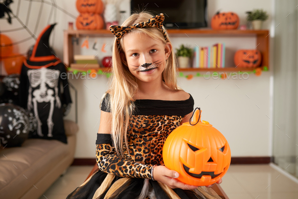 Pretty Girl With Cat Makeup - Stock Photo - Images