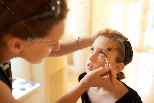Halloween Makeup For Little Girl - Stock Photo - Images