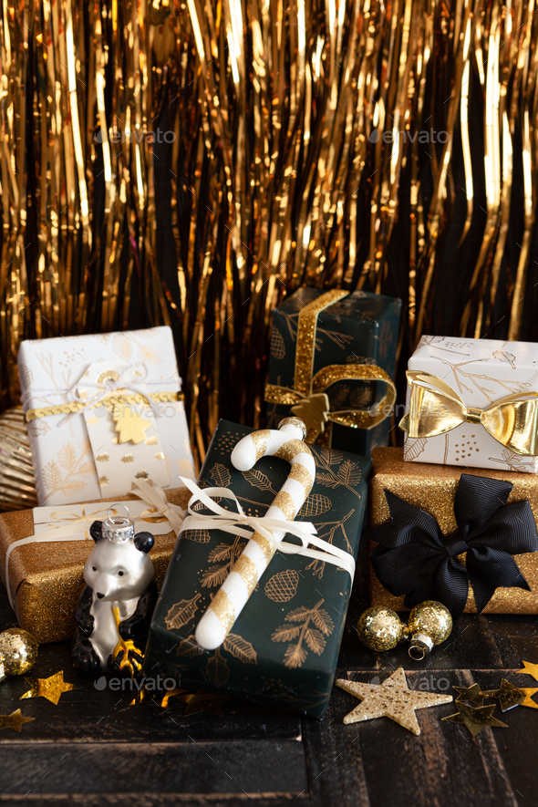 Festive wrapped Christmas presents - Stock Photo - Images
