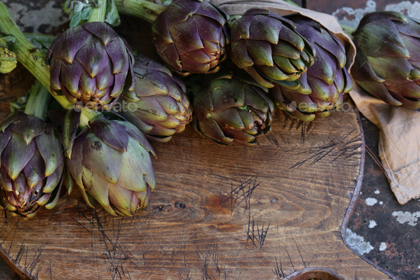 Purple Vegetables Artichokes - Stock Photo - Images