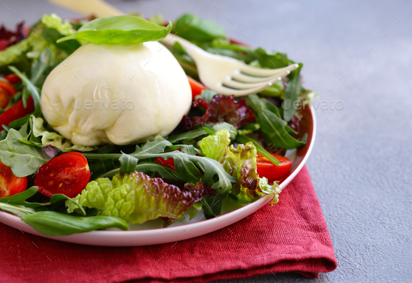 Mozzarella Burrata Salad - Stock Photo - Images