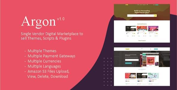 Share codecanyon Argon - Single Vendor Digital Marketplace to sell Themes, Scripts & Plugins