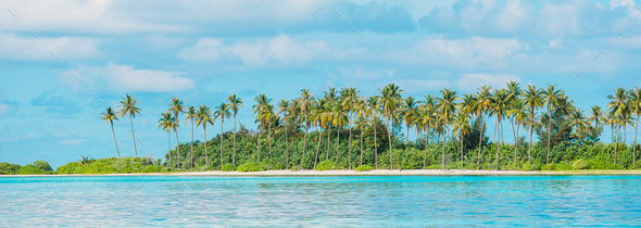 Perfect white beach with turquoise water at ideal island - Stock Photo - Images