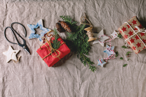 Christmas stars and gifts - Stock Photo - Images