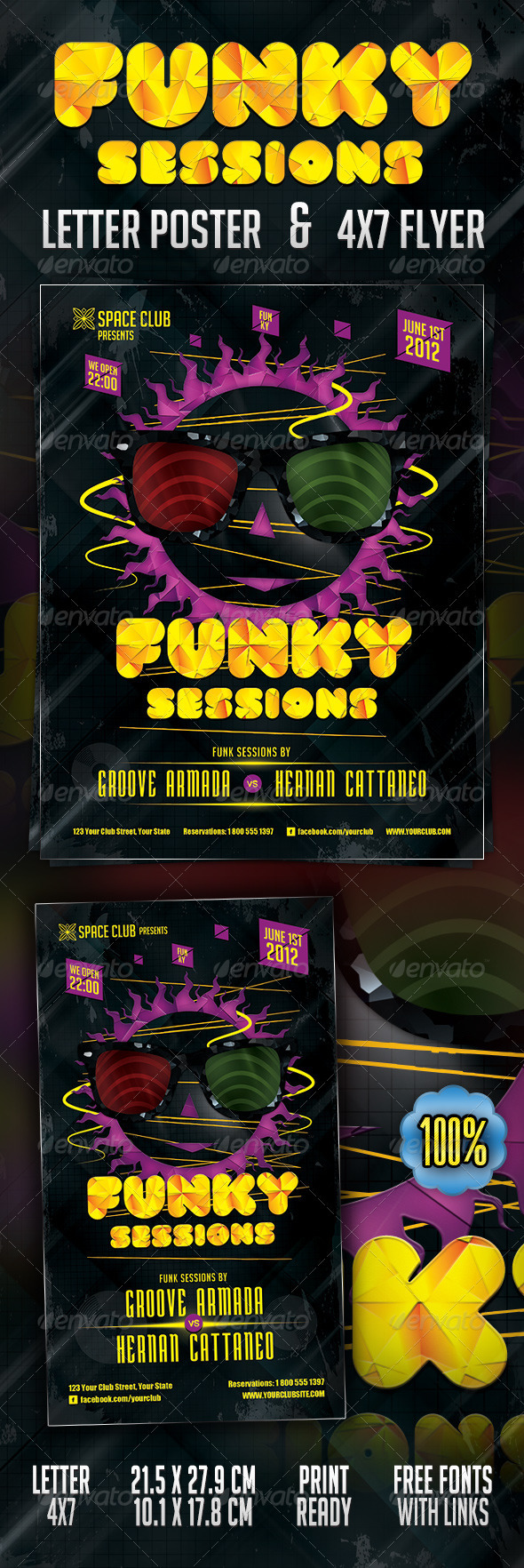 Funky Sessions Poster & Flyer - Clubs & Parties Events