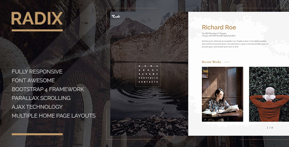 Radix -  Portfolio and Resume Template by Gianfar