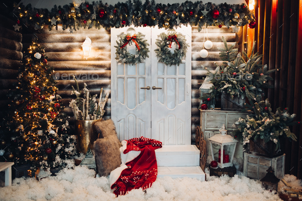 Decorated studio for Christmas holiday with doors in center - Stock Photo - Images