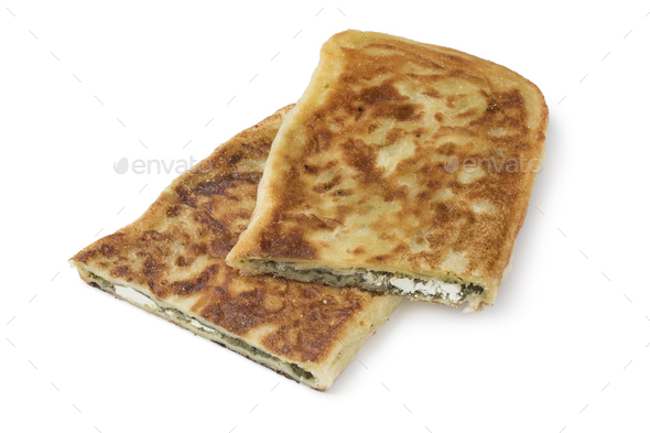 Traditional Moroccan pancake stuffed with spinach and feta chees - Stock Photo - Images